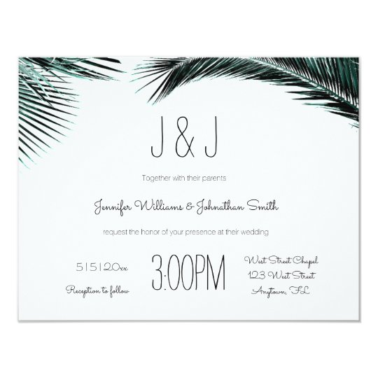 Blue palm leaves destination wedding invitations