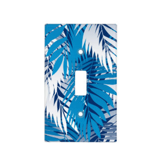 Blue palm leaves light switch cover