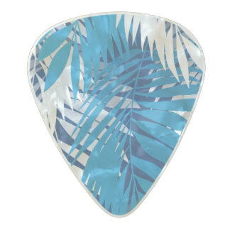 Blue palm leaves pearl celluloid guitar pick