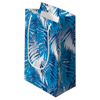 Blue palm leaves small gift bag