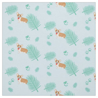 blue palms corgi fabric