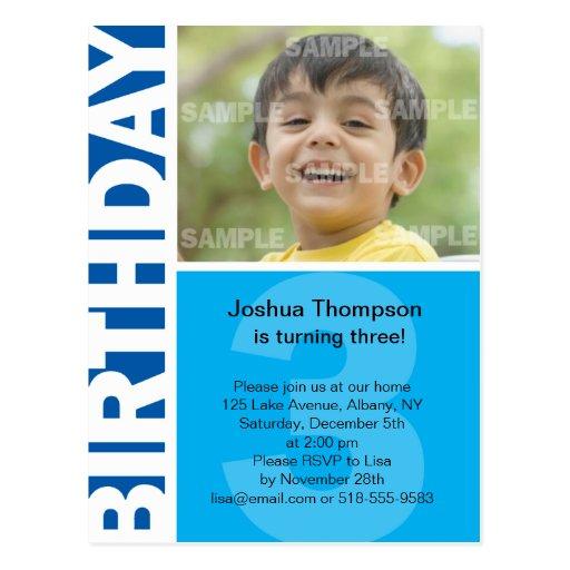 Blue Panel 3rd Birthday Invitation Postcards