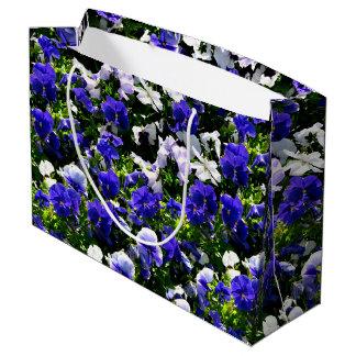 Blue Pansies Large Gift Bag