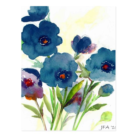 Blue pansies postcard