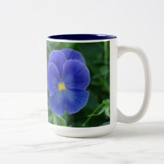 Blue Pansies Two-Tone Coffee Mug