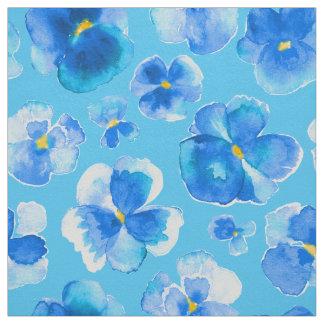 Blue pansies watercolor flower art fabric