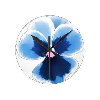 Blue Pansy Flower 201711c Round Clock