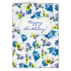 Blue Pansy Flowers floral pattern Happy Birthday Card