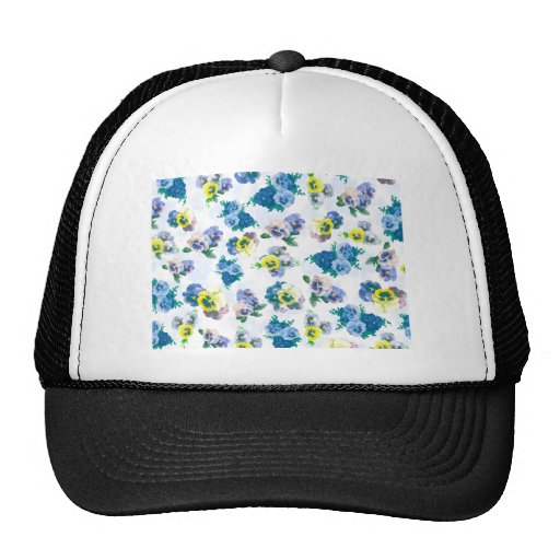 Blue Pansy Flowers floral pattern Mesh Hat