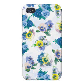 Blue Pansy Flowers floral pattern iPhone 4 Case