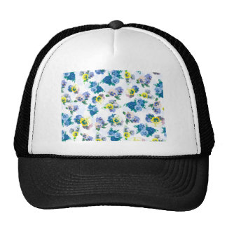 Blue Pansy Flowers floral pattern Trucker Hat