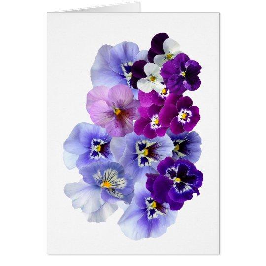 Blue Pansy Flowers Floral Spring Pansies Card