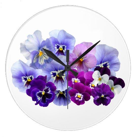 Blue Pansy Flowers Floral Spring Pansies Large Clock