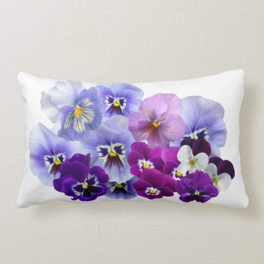 Blue Pansy Flowers Floral Spring Pansies Lumbar Pillow