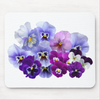 Blue Pansy Flowers Floral Spring Pansies Mouse Pad