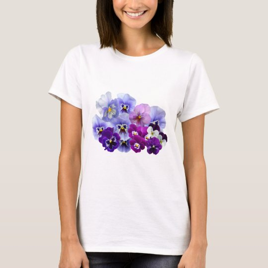 Blue Pansy Flowers Floral Spring Pansies T-Shirt