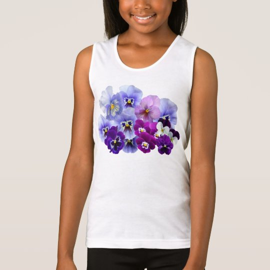 Blue Pansy Flowers Floral Spring Pansies Tank Top