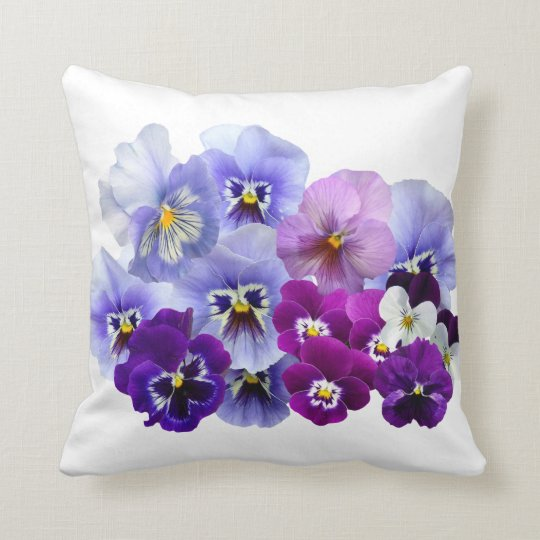 Blue Pansy Flowers Floral Spring Pansies Throw Pillow