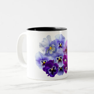 Blue Pansy Flowers Floral Spring Pansies Two-Tone Coffee Mug
