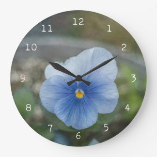 Blue Pansy Large Clock