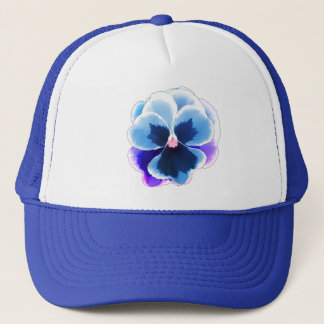 Blue Pansy on Blue Customizable Trucker Hat