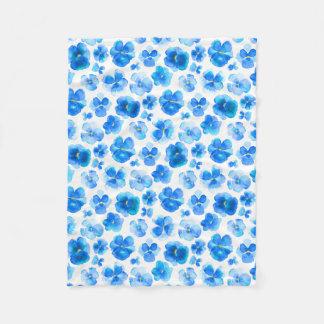 Blue pansy watercolor art blanket