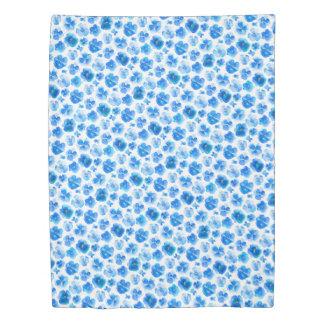 Blue pansy watercolor botancia art duvet