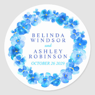 Blue pansy wreath personalized watercolor stickers