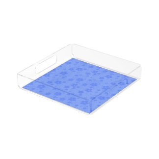 Blue paper flowers acrylic tray