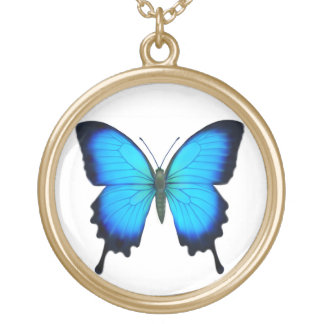 Blue Papilio Ulysses Butterfly Necklace