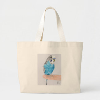 Blue parakeet large tote bag