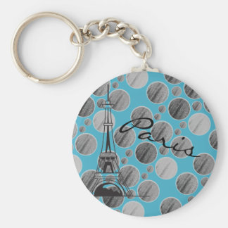 Blue Paris Dot Circle keychain