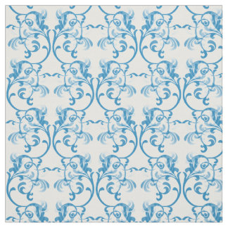 Blue Parisian Damask Pattern Fabric