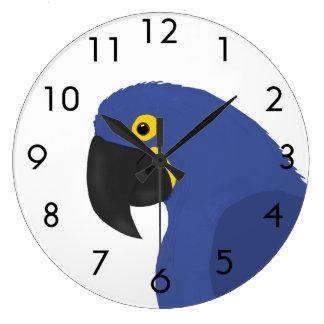 Blue Parrot Large Clock