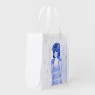 Blue Party Girl Flapper Reusable Grocery Bag