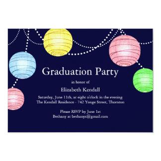 Blue Party Lantern Graduation Invitation