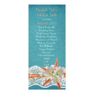 Blue Party Starfish Summer Wedding Menu Custom Announcement