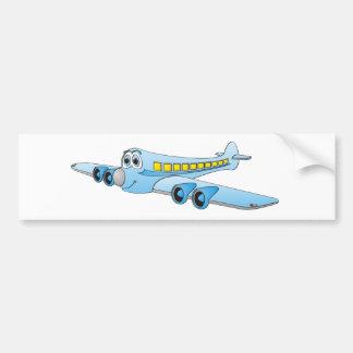 Blue Passenger Jet Cartoon Bumper Sticker