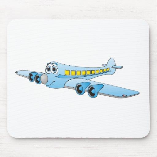 Blue Passenger Jet Cartoon Mousepads