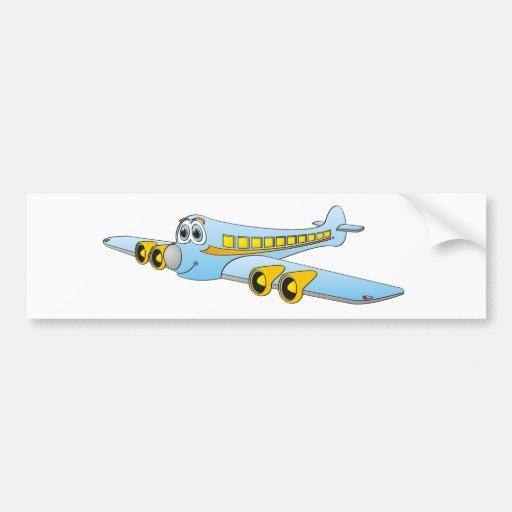 Blue Passenger Jet O Cartoon Bumper Stickers