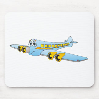 Blue Passenger Jet O Cartoon Mouse Pad