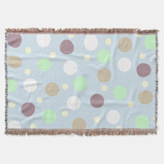 Blue Pastel Colorful Polka Dot Throw Blanket
