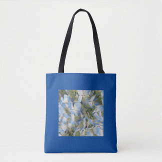 Blue pastel hydrangeas tote bag
