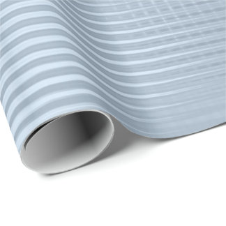 Blue Pastel Metallic Grill Stripes Minimal Lux Wrapping Paper