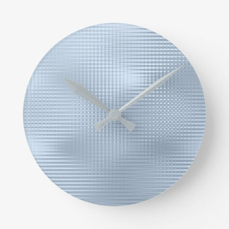 Blue Pastel Silver Gray Minimal Metallic Stripes Round Clock