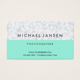 Blue Pastel with White Marble Modern Minimalist Business Card