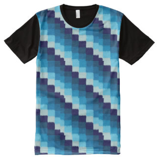 Blue Patchwork All-Over-Print T-Shirt