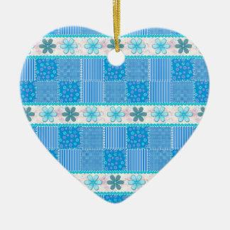 Blue patchwork ceramic ornament
