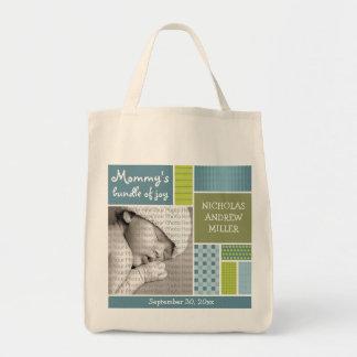 Blue Patchwork Custom Photo Diaper/Mommy Bag