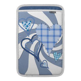 Blue Patchwork Hearts Macbook Air Rickshaw Sleeve Sleeve For MacBook Air